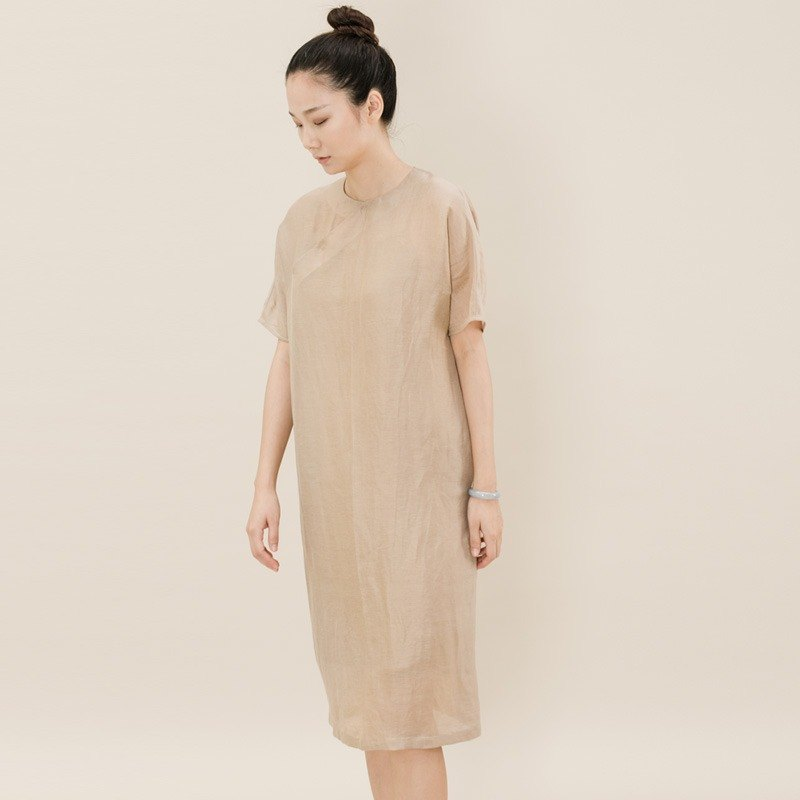 BUFU silk linen Chinese-style oversized dress   Chinese dress  D170522