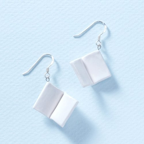 Flying books - handmade porcelain silver earrings