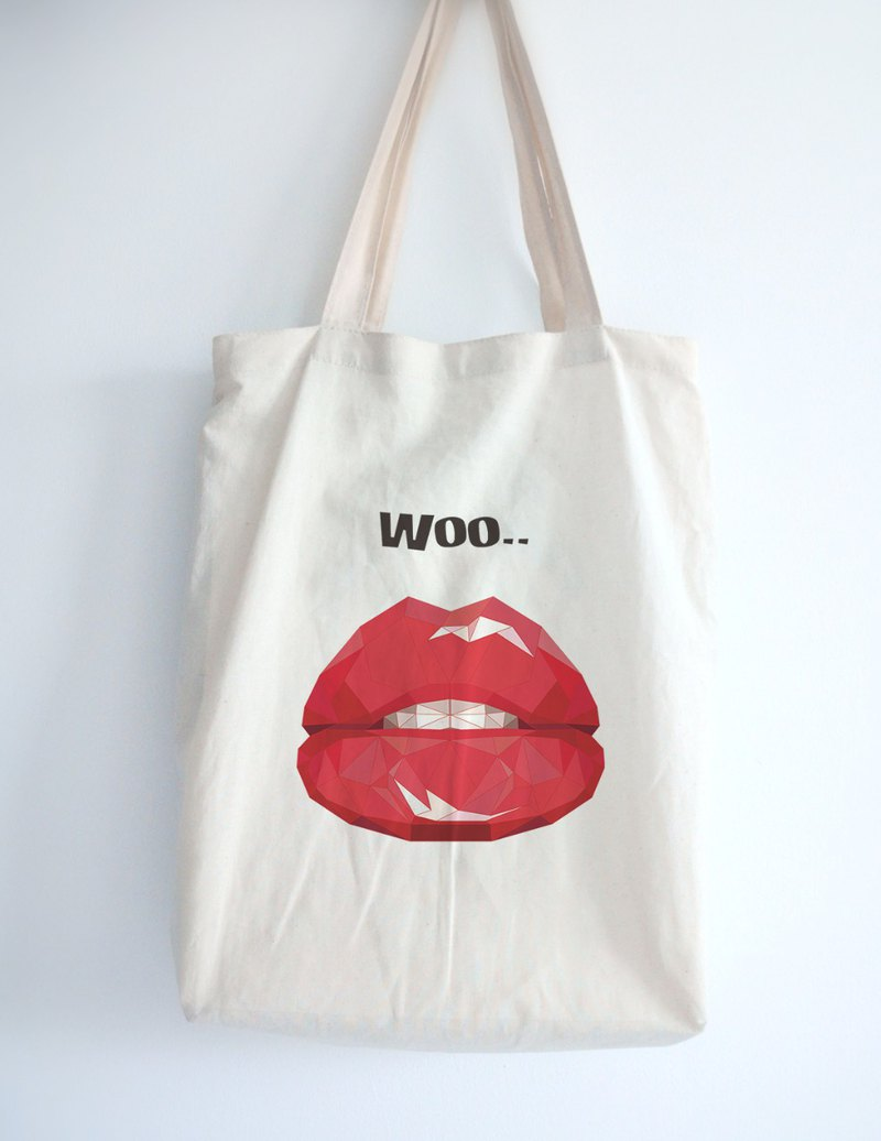 Wenqing must-have environmental protection shopping bag-sexy red lips illustration shoulder bag