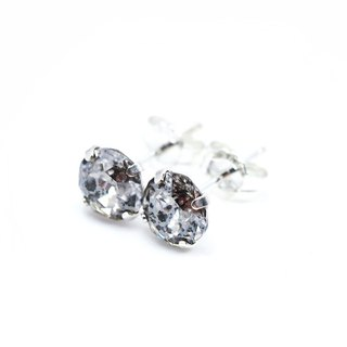 Silver 'Meteorite' Crystal Earrings, Sterling Silver, 6mm Round, 耳釘