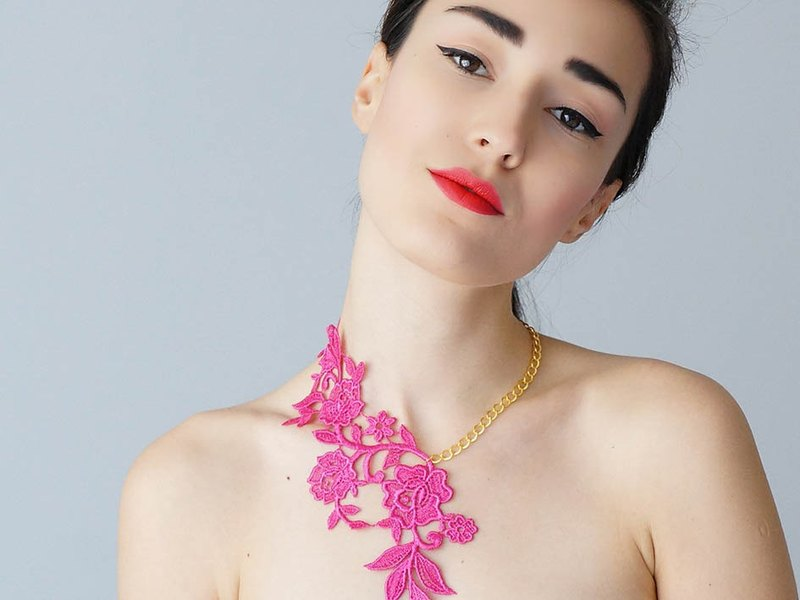 Blessing Yuet pink antique lace elegant dinner party clavicle chain with gold / silver chain necklace wedding feminine Irresistible Elegance original handmade creative wedding wedding bridal jewelry LASATA | Turkey Hand Brand epuu from Turkey Customizable