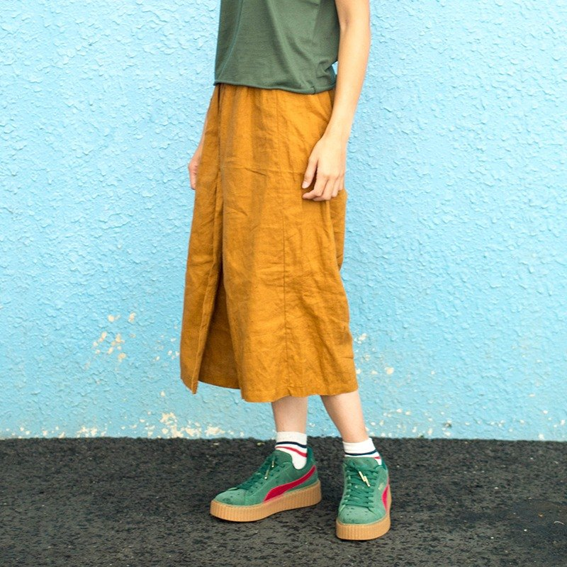 Calf Village Cuff Village ├ Unique Shirt ┤ Belt Slim Breathable Linen Super Good Pants Skirt {Stand on Loess} Mustard [C-05] Only this one