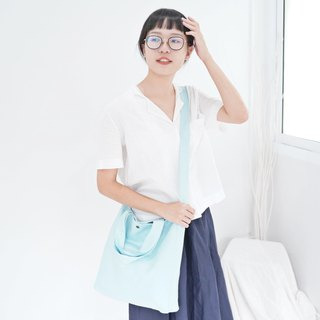 Casual 2 Ways Linen Tote Bag (Sky Blue)