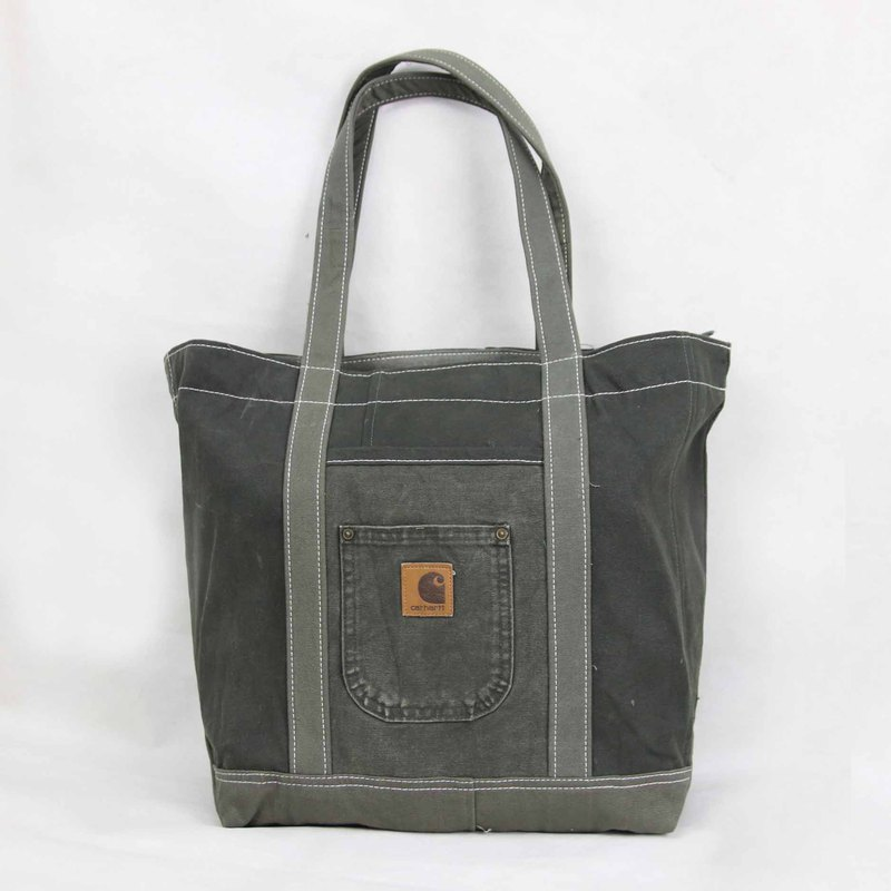 Tsubasa.Y vintage house Carhartt013 gray green rework canvas bag, shoulder bag