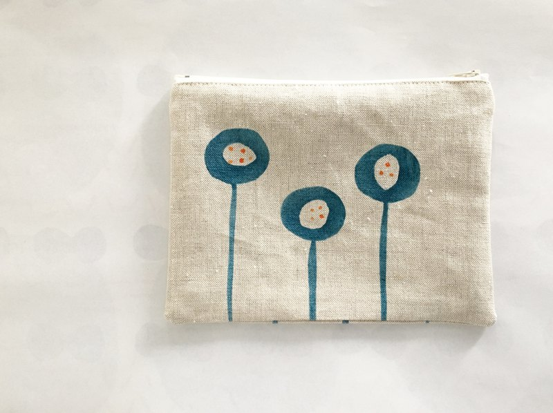Moshimoshi | Burlap Zipper Cosmetic Bag - Round Flower