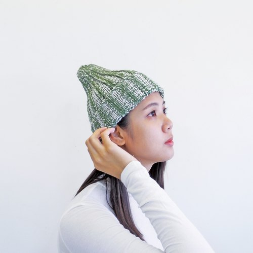 [Extreme touch] hand-knit wool hat - Peruvian alpaca - green