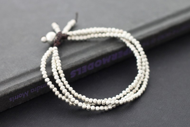 Silver Beaded Bracelets Multi Strand Simple Classic