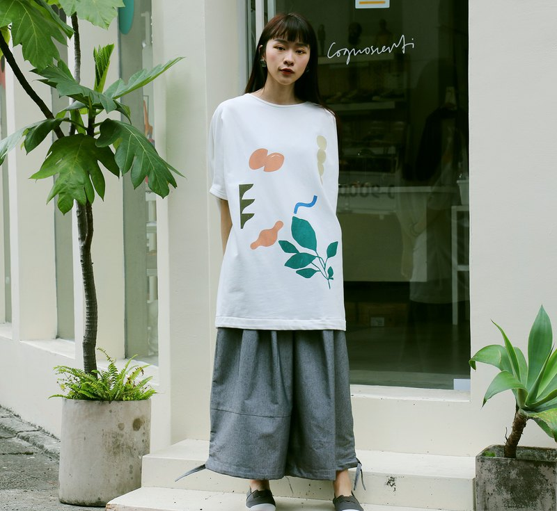 Cognoscenti white wide version T / autumn and winter / hand-printed / geometry / leaves