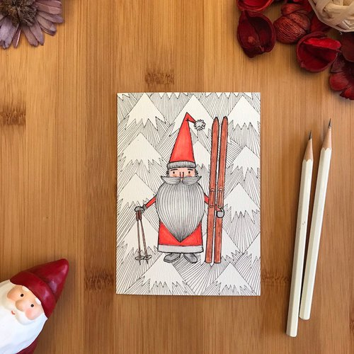 SANTA SKIS Christmas card hand-painted illustration of environmentally friendly paper imported cards C104