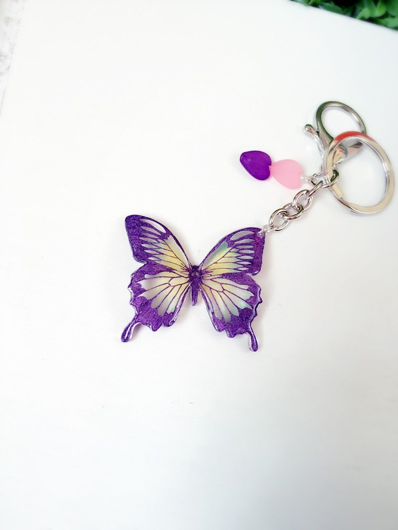 * Haku‧Neko * Purple Heart pattern Swallowtail Hand-painted Butterfly Keychain