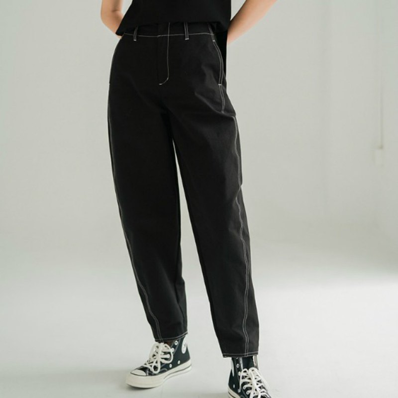 Black round moon scimitar autumn and winter new slim thin wild curved pants loose high waist trousers old pants