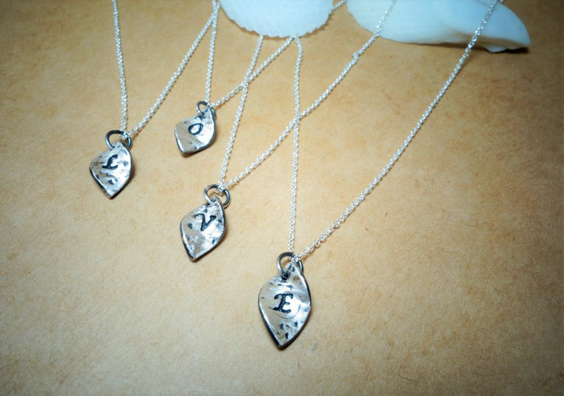Sterling silver ~ small leaf writing English alphabet necklace (lettering service)