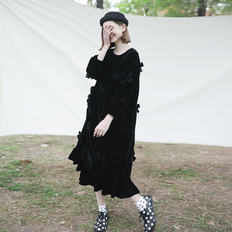 Tencel velvet black bow long sleeve dress dress - imakokoni