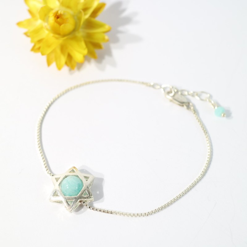[ColorDay] Smile Star ~ Tianhe Stone Sterling Silver Bracelet <Amazonite Bracelet>