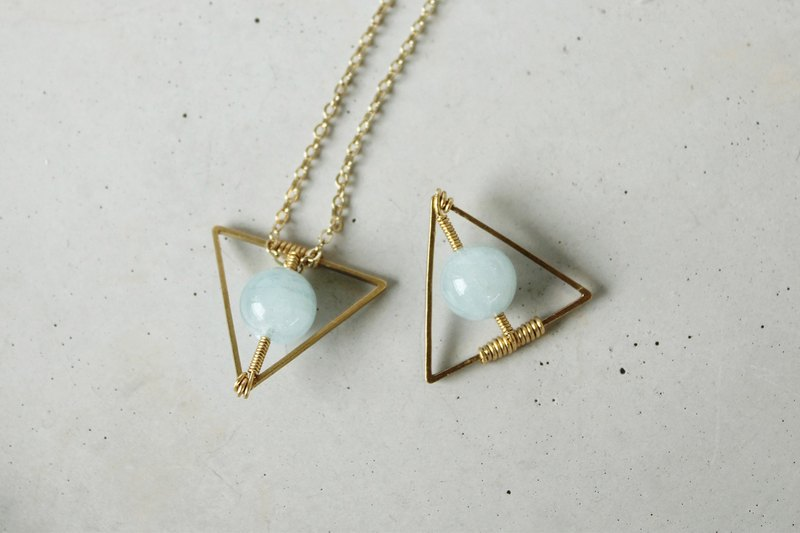 Myth Triangle Aquamarine March Birthstone Necklace Brass Beas