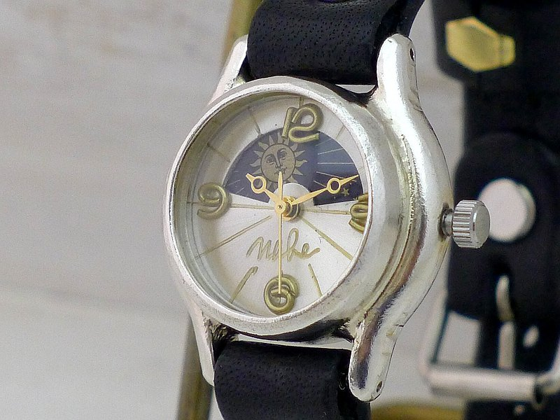 Handmade watches HandCraftWatch Lady's Silver Sun & Moon [362 SV-S & M SV / NV]