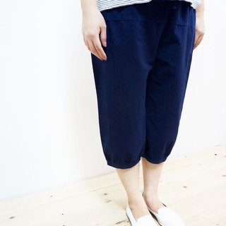 Cotton casual 6 pants / dark blue