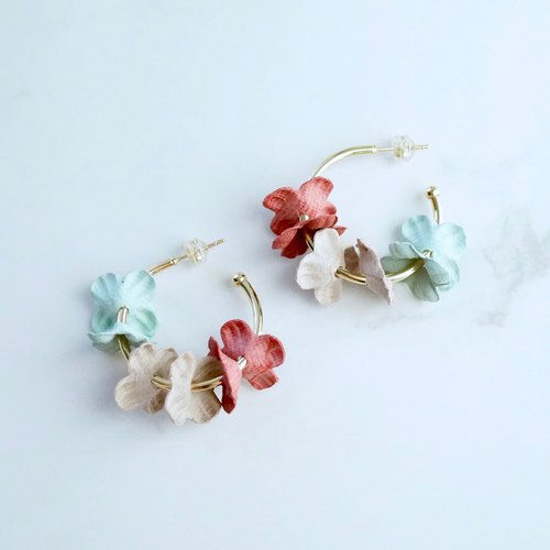 ITS-E295 [Flower Fairy Earrings] Pink X Mint Green Flower Ear Stud Earrings Earrings
