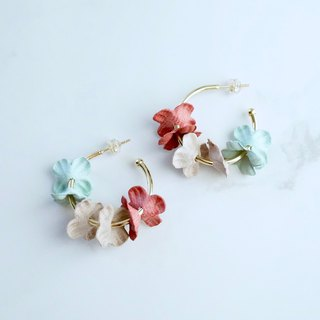 ITS-E108 [Flower Fairy Earrings] Pink X Mint Green Flower Ear Stud Earrings Earrings