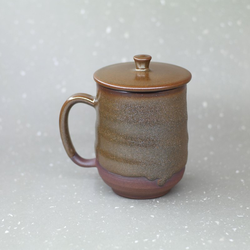 Zen wind Tibetan gold flow glaze cover cup hand made pottery