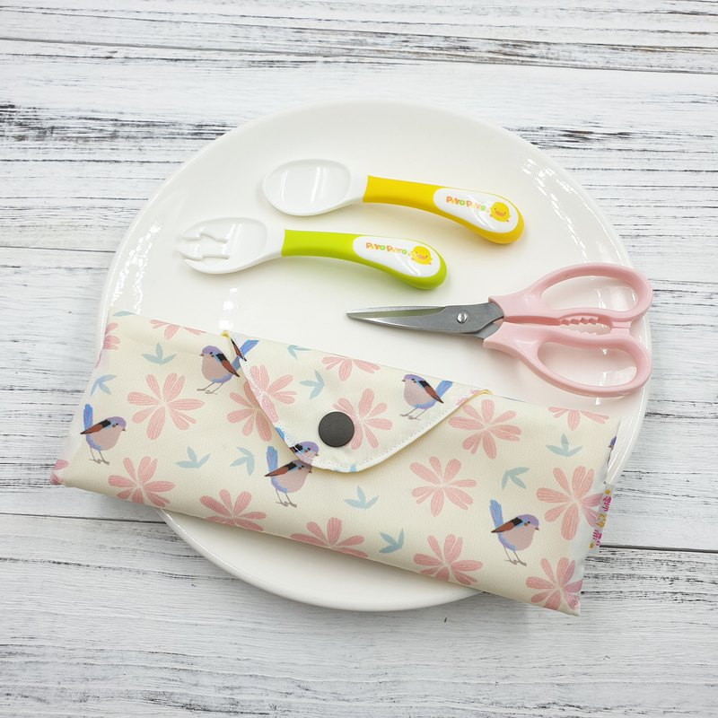 K-09 non-toxic environmental protection tableware bag straw bag baby cutlery bag can hold food scissors can be customized size
