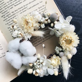 [Good] flower white wizard does not wither dried hydrangea wreath birthday gift Valentine's Day gift handmade wreaths Opening (S)
