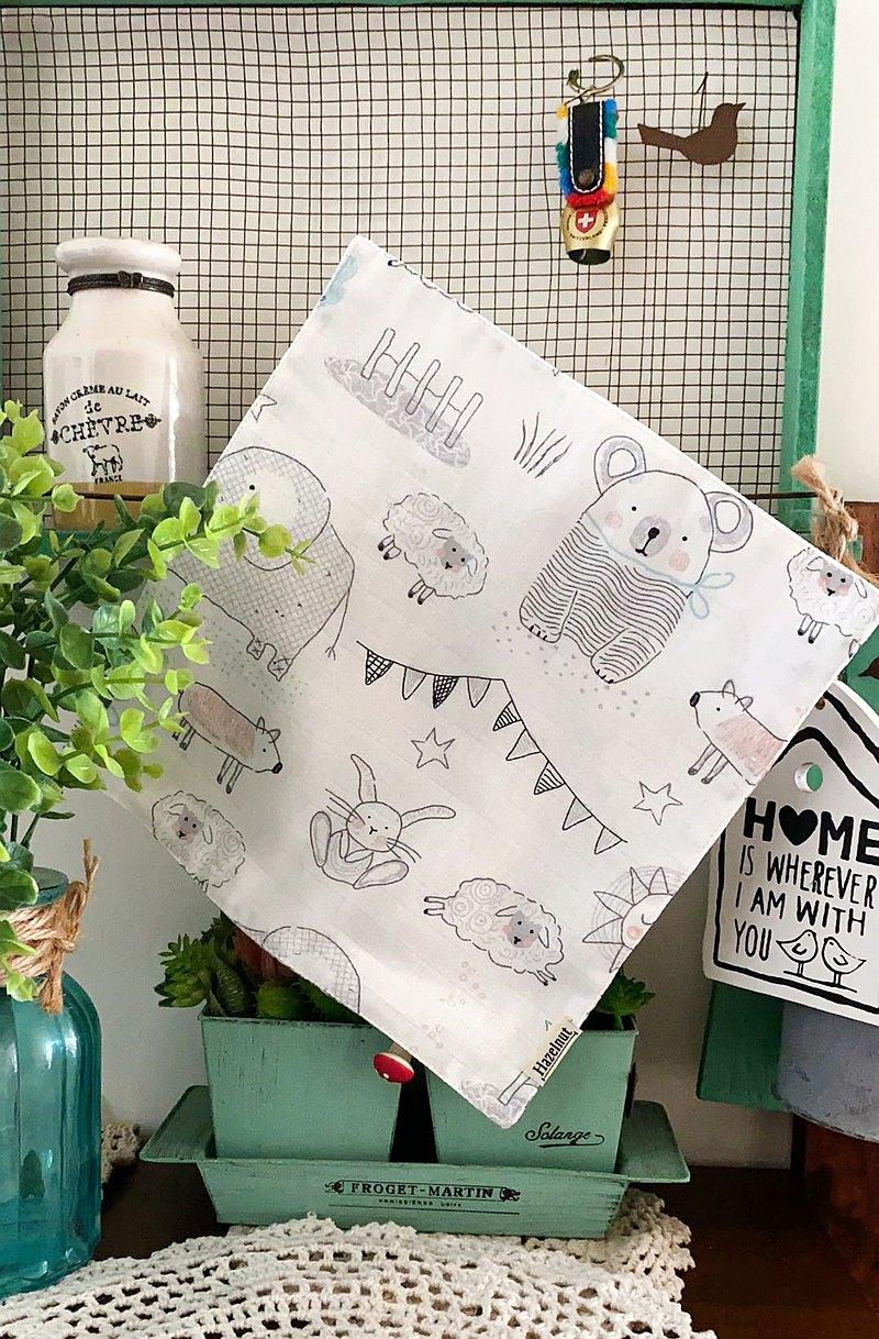 動物王國圖案口水巾/小手帕/小方巾/二重紗布