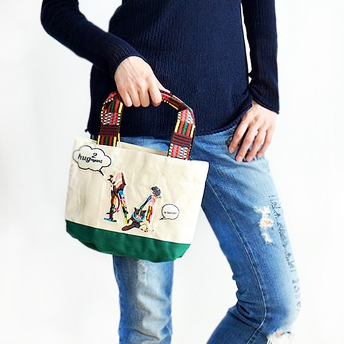 Japanese cat Acolory-Hug2nyan handle letter embroidery Tote