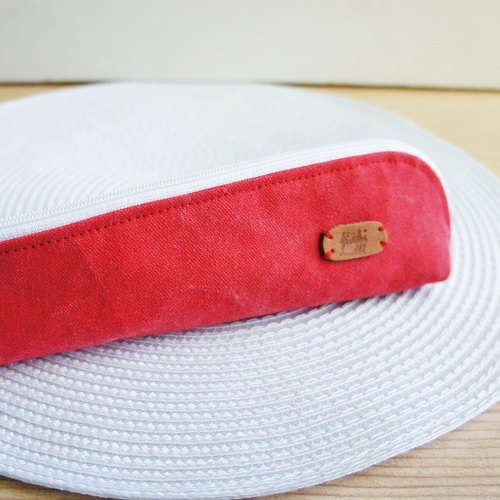 Lovely Stone wash tannin cowboy simple cutlery bag, pencil case, stone wash canvas red