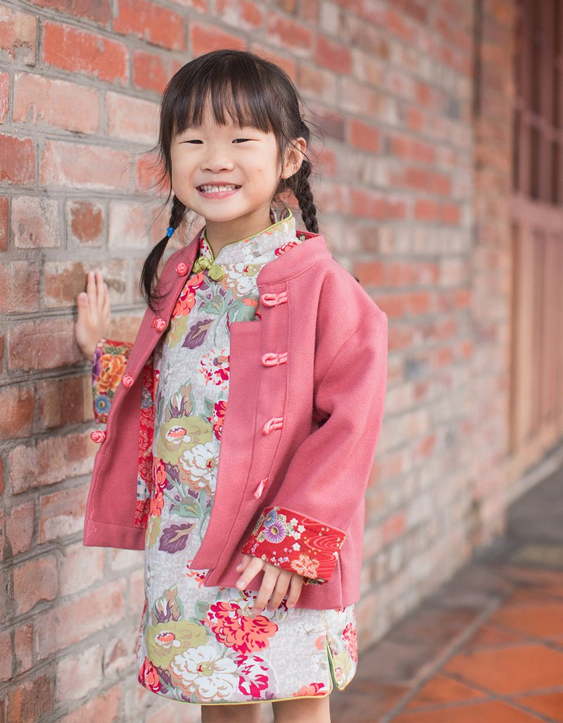 Children's small Tang suit ancient style winter Tang suit (Macaron powder orange red)