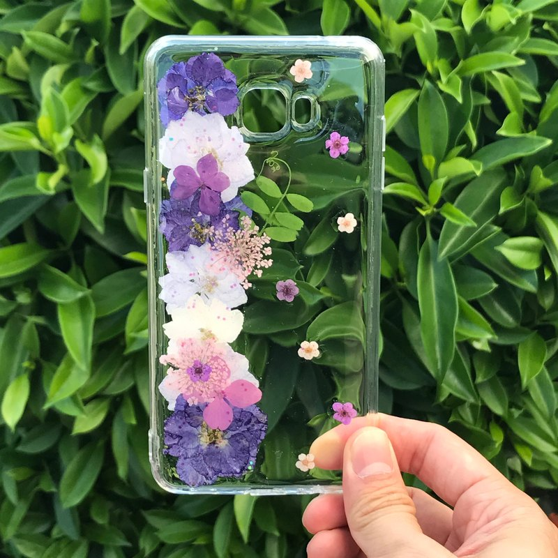 Samsung Galaxy S8 Handmade Dry Pressed Flowers Case Purple Flower case 030