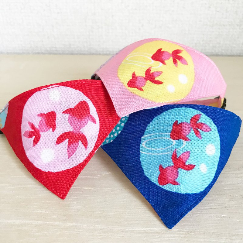 Bandana style collar for goldfish pattern cats Safety buckle safety collar