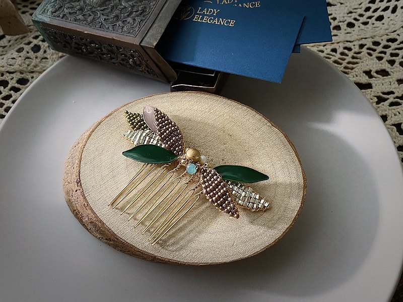 Western antique hair ornaments fairy tale forest crystal resin leaf comb/hairpin brown green