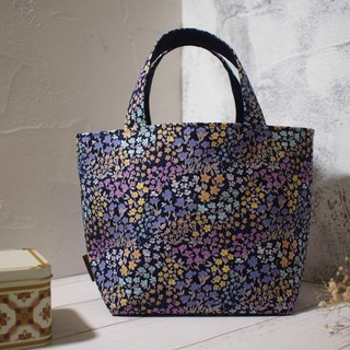 House wine series lunch bag / tote bag / limited edition hand bag / psychedelic purple flower / stock supply