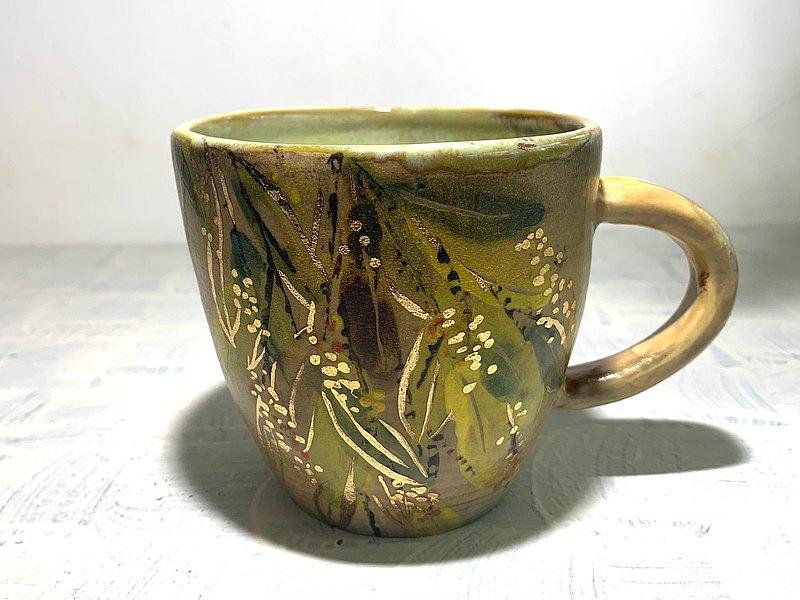 彩葉尤加利咖啡杯_陶器馬克杯