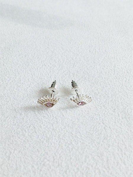 2mm round-shaped glass/Pink/Eyes/Earrings/Swarovski Crystal/Sterling Silver/By hand【ZHÀO】SZE1668