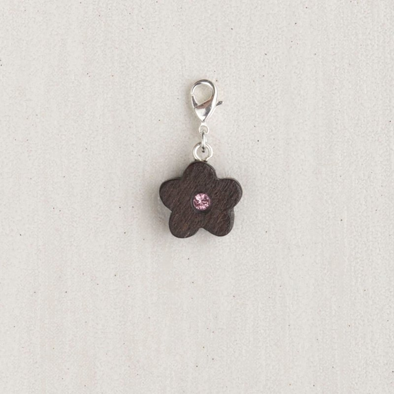 Flower wooden charm (can choose gold / silver plated Lobster clasp)
