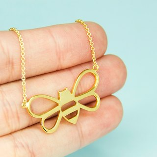 Bumble Bee Necklace in Brass with 14k Yellow Gold plating