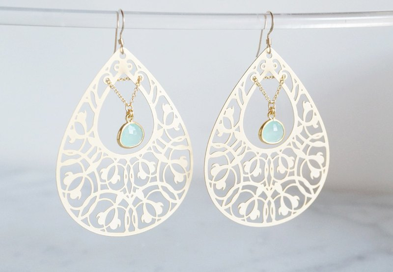 【14KGF】Earrings,Filigre Teardrop (Large)-Bohemian,Mint Green-