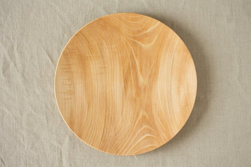 Wood 24cm of the potter's wheel ground wooden plate chestnut (land) 01