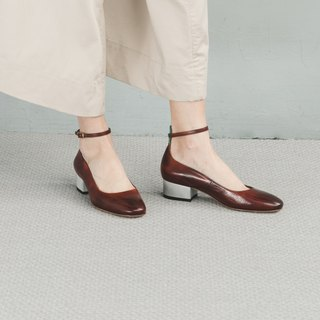 H THREE round head 3.4踝 with heel shoes / sea old tea / heel shoes / leather shoes