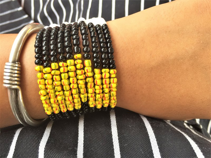 WILD n FREE Yellow Black and White Tricolor Bracelet