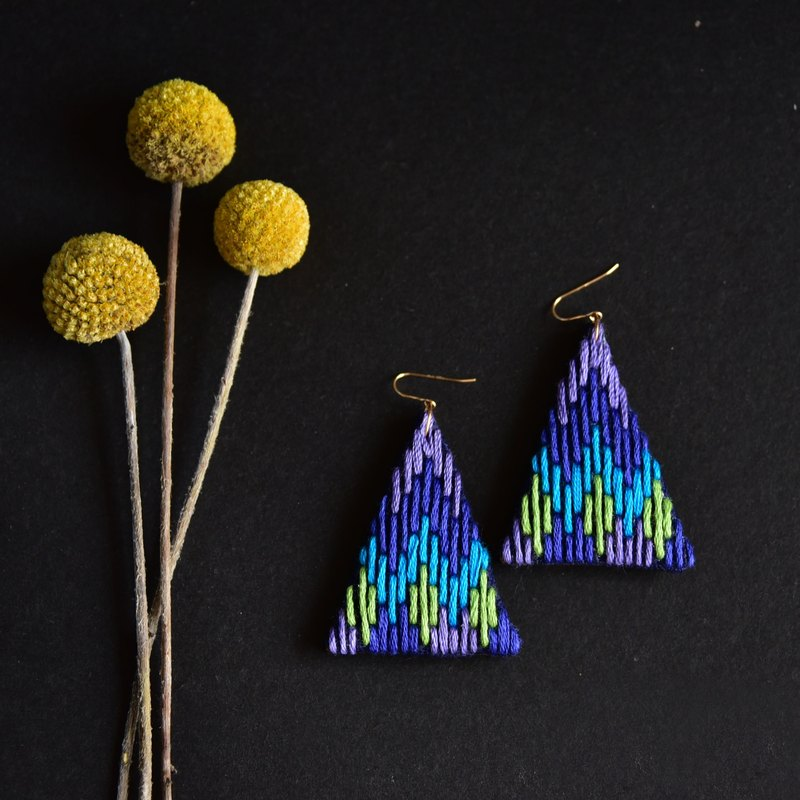 Zhen girl embroidered triangular blue boho earrings
