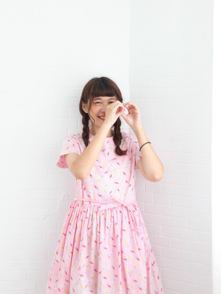Retro Summer Cute Ice Cream Print Pink Cotton Short Sleeve Vintage Dress