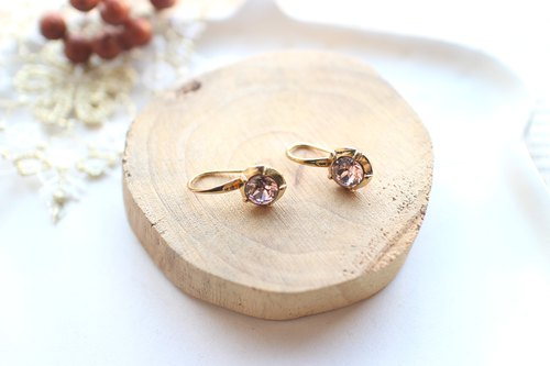 Purple roses-Brass earrings