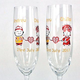 My Crystal Champagne Glasses - Chinese Wedding  including engraved names & date