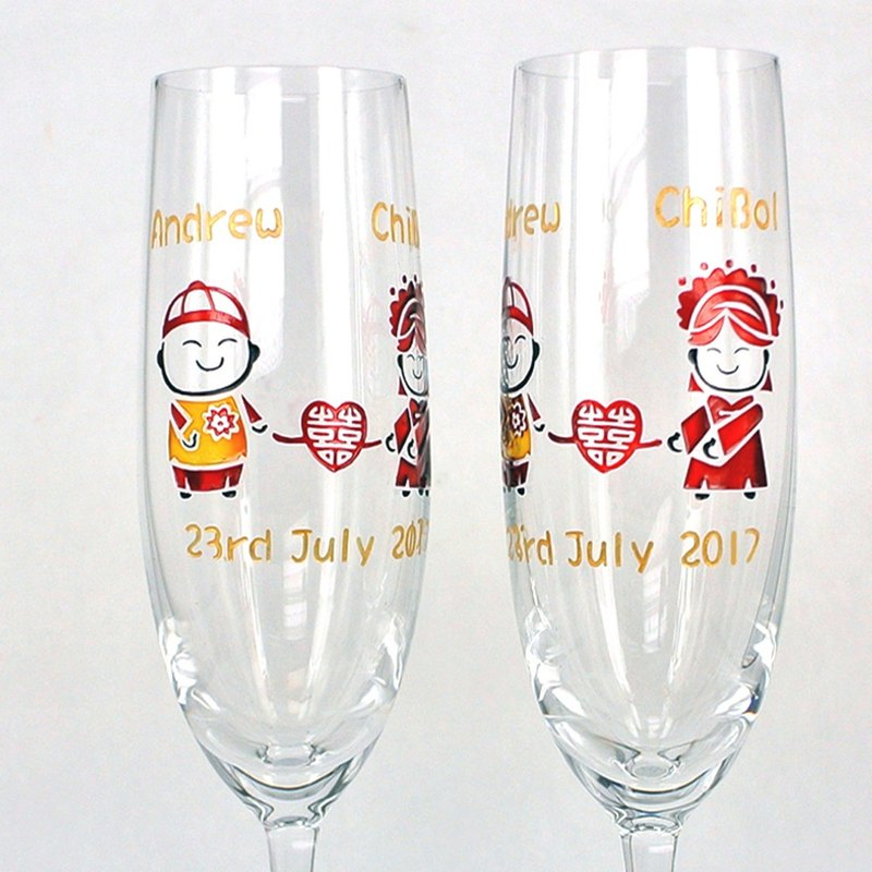 Champagne Glasses - Chinese Wedding (including casting & coloring names & date)