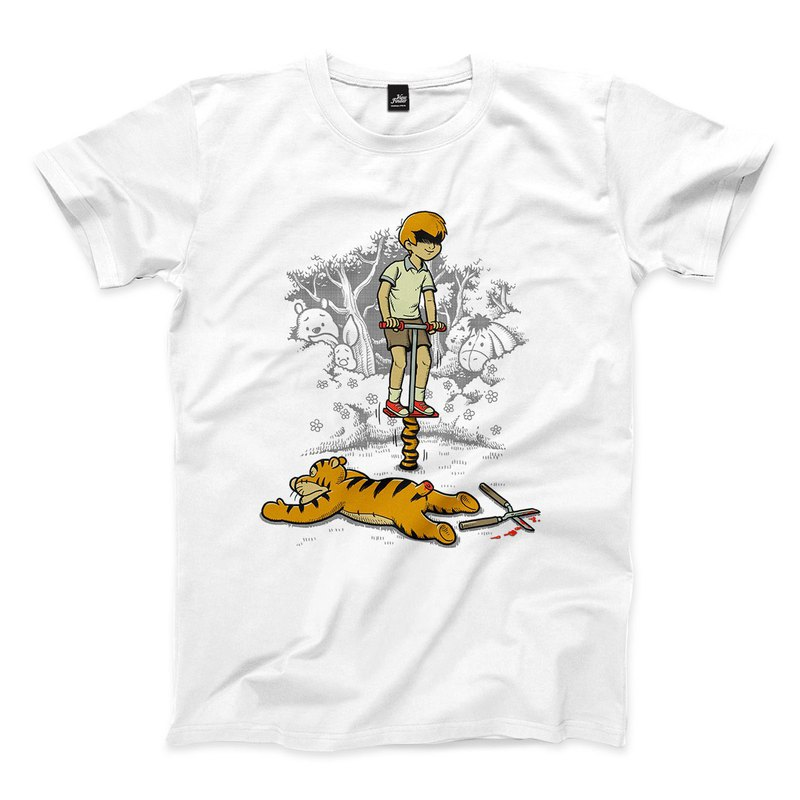 Jumping Tiger-Cool-White-Unisex T-Shirt