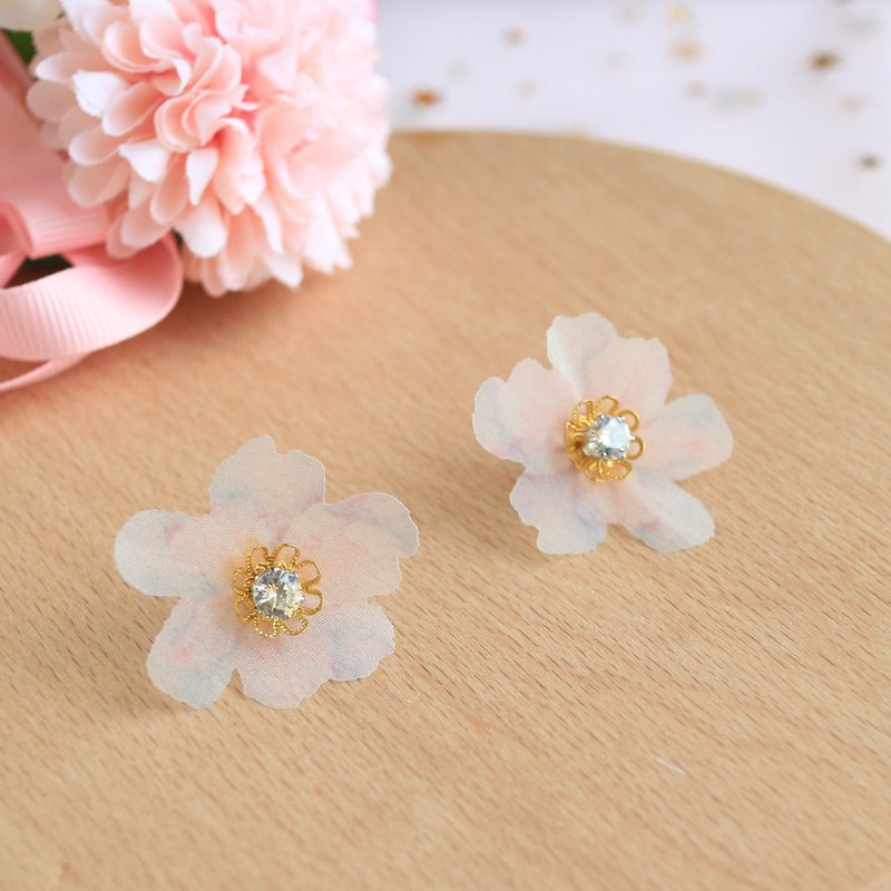 white organza Silk Hand Painted diamond crystal flower blossoms Earrings gift
