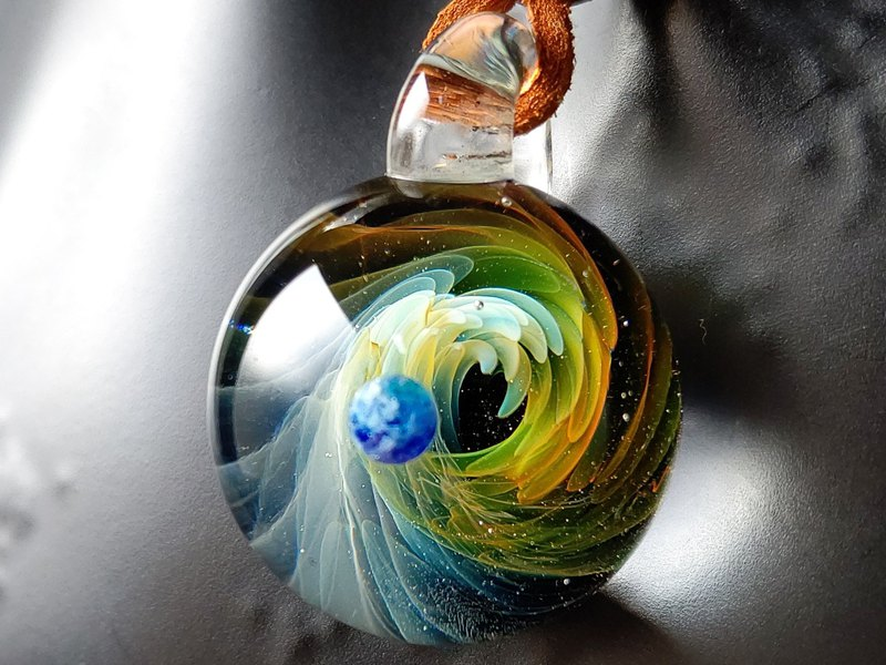 Omigra Universe Glass Necklace Earth Genesis Necklace Pendant Men Women Unisex